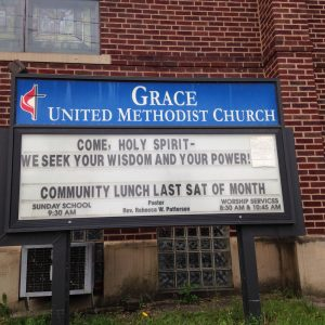 Sign in front of the church